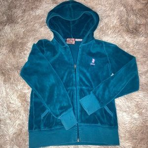 Girls juicy couture blue velour zip up jacket 7